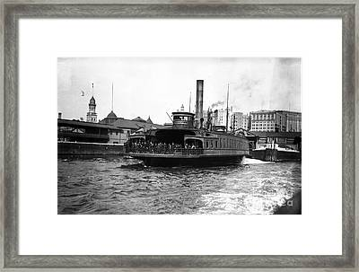 New York Harbour Steamship Whitehall Leaving Port A Summers Day In 1904 Framed Print by Finn Trygvason Klingenberg
