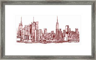 New York Maroon Ink Framed Print by Building  Art