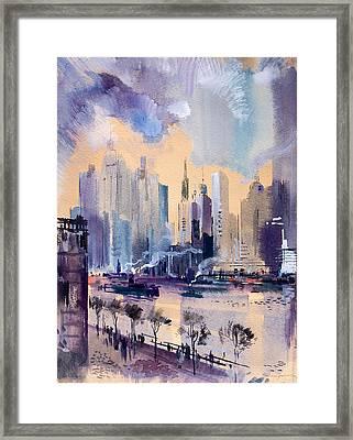 New York Framed Print by Odon Czintos