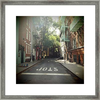 New York On Idealic Street Framed Print by Lori Andrews