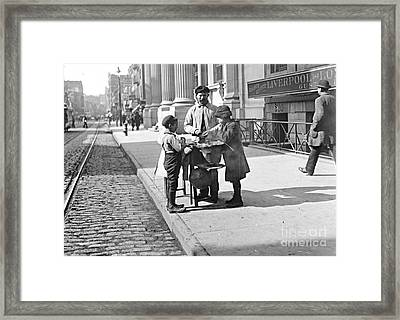 New York Peanut Stand On West 42nd Street 1903 Framed Print