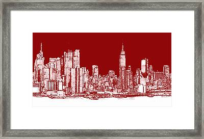 New York Rectangular Skyline Red Framed Print