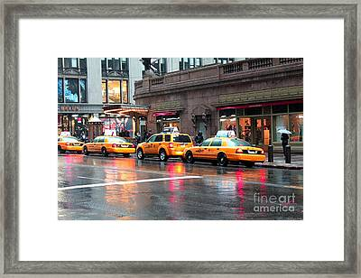 Framed Print featuring the photograph New York's Famous Cabs by Laurinda Bowling