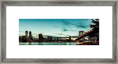 New Yorks Skyline At Night Ice 1 Framed Print by Hannes Cmarits