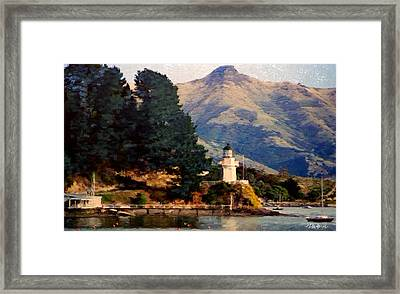New Zealand Series - Akaroa Lighthouse Framed Print by Jim Pavelle