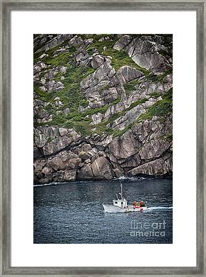 Framed Print featuring the photograph Newfoundland Fishing Boat by Verena Matthew