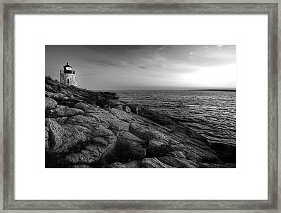 Newport Rhode Island-castle Hill Black And White Framed Print