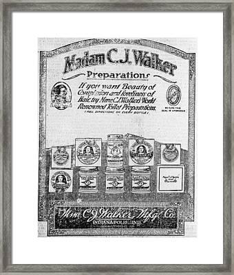 Newspaper Ad For Madam C.j. Walker Framed Print by Everett