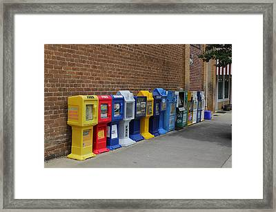 Newspaper Boxes Framed Print