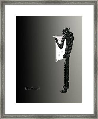 Newspaper Reader Framed Print