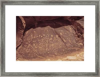 Newspaper Rock In Indian Creek Historic Framed Print by Everett