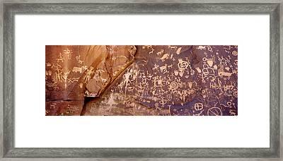 Newspaper Rock Petroglyphs, Utah Framed Print by Rob Atkins