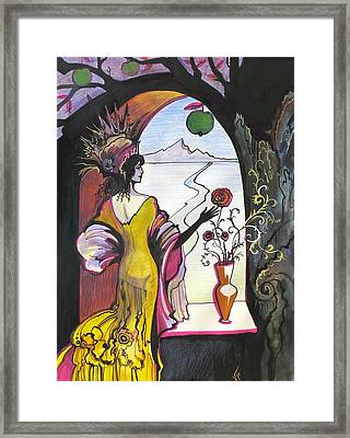 Framed Print featuring the painting Next To The Window by Valentina Plishchina