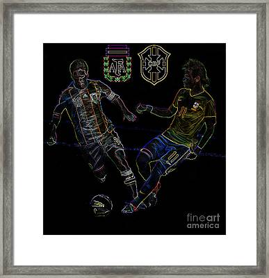 Neymar And Lionel Messi Clash Of The Titans Neon Framed Print by Lee Dos Santos