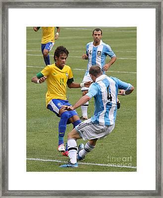 Neymar Breaking Ankles II Framed Print by Lee Dos Santos