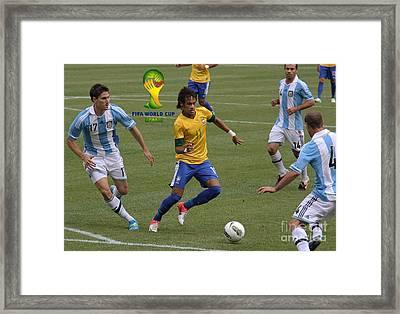 Neymar Doing His Thing Fifa Logo Framed Print by Lee Dos Santos