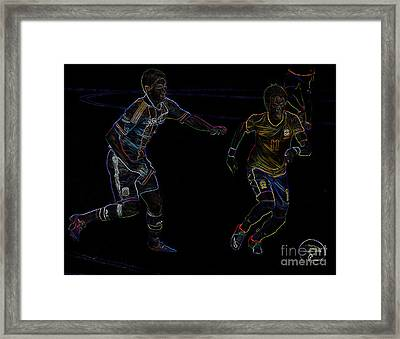 Neymar Doing His Thing Neon Framed Print by Lee Dos Santos