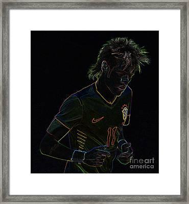 Neymar Neon Framed Print by Lee Dos Santos