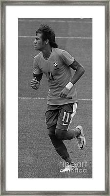 Neymar Running Black And White Framed Print by Lee Dos Santos