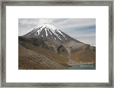 Ngauruhoe Cone And Upper Tama Lake Framed Print by Richard Roscoe