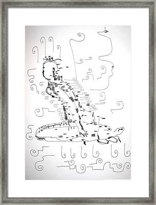 Framed Print featuring the drawing Ngwale Dance - Botswana by Gloria Ssali