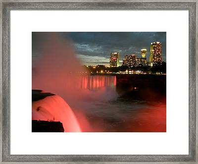 Niagara Falls At Night Framed Print by Mark J Seefeldt