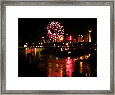 Framed Print featuring the photograph Niagara Falls Fireworks by Mark J Seefeldt