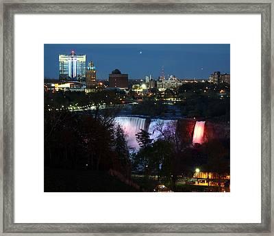 Niagara Falls Ny At Night Framed Print by David Gilman