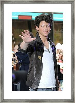 Nick Jonas At Talk Show Appearance Framed Print by Everett