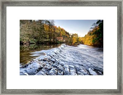 Nidd Gorge Autumn Weir Framed Print by Chris Frost