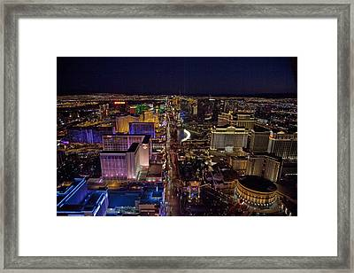 Night Aerial View Of The Las Vegas Framed Print by Everett
