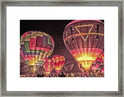 Framed Print featuring the photograph Night Balloon Lighting by James Bethanis