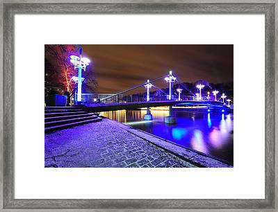 Night Bridge In Turku Framed Print by Roman Rodionov