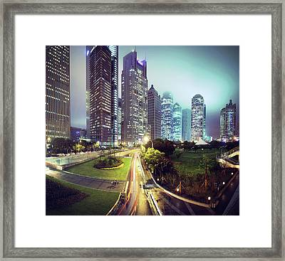 Night Fog Over Shanghai Cityscape Framed Print by Blackstation