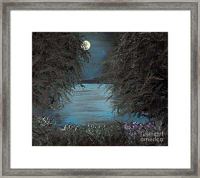 Framed Print featuring the painting Night In The Bayou by Alys Caviness-Gober