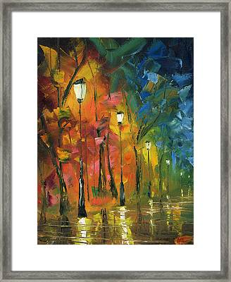 Night In The Park Framed Print by Ash Hussein
