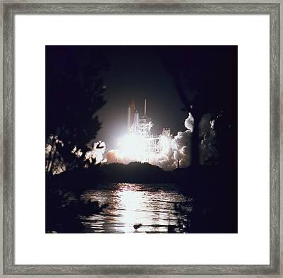 Night Launch Of The Space Shuttle Framed Print by Stockbyte
