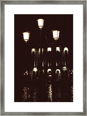 Framed Print featuring the photograph Night Lights Grand Canal Venice by Tom Wurl