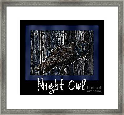 Night Owl Poster - Digital Art Framed Print by Carol Groenen