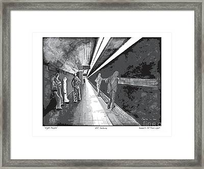 Night People In Black And White Framed Print by Kenneth De Tore