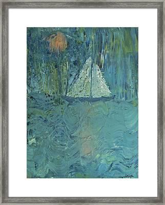 Night Sail Framed Print by Wayne Potrafka