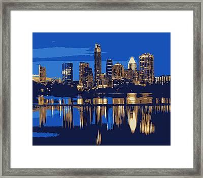 Night Skyline Color 6 Framed Print by Scott Kelley