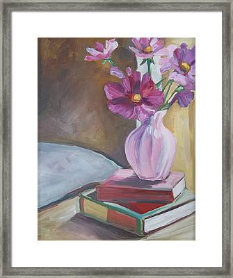 Night Stand With Flowers And Books Framed Print by Michelle Grove
