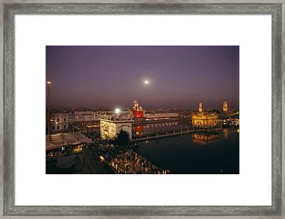 Night View Of Amritsar Framed Print by James P. Blair