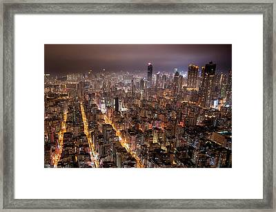 Night View Of Kowloon Framed Print by Ray Cheung