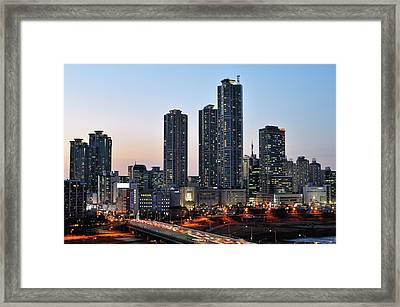 Night View Of Mok-dong Framed Print by Tokism