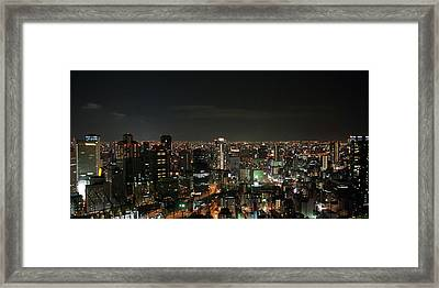 Night View Of Osaka Framed Print