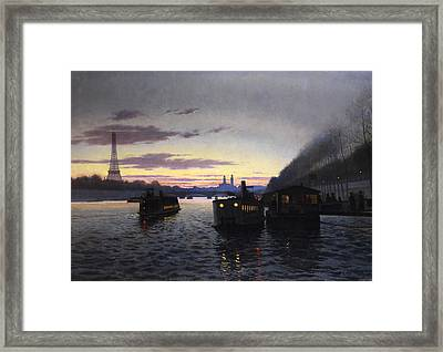 Night View Of Paris Framed Print by Eugene Frey