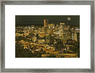 Night View Of Portland City Downtown Framed Print by Tatiana Boyle