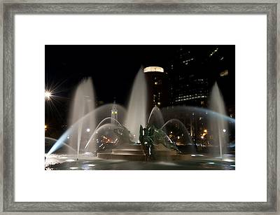 Night View Of Swann Fountain Framed Print